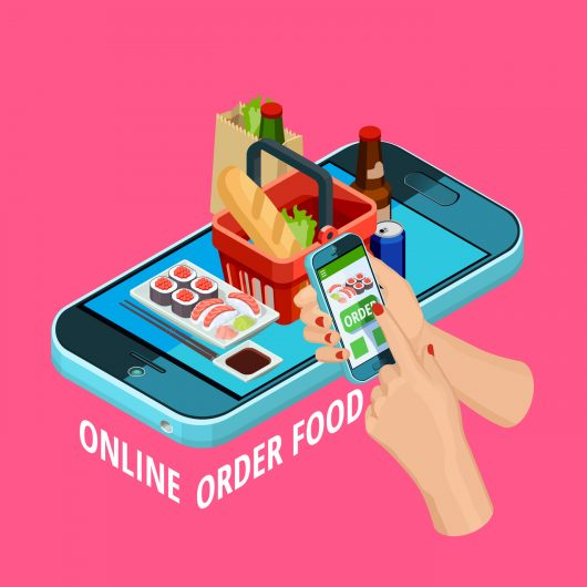 Easy online food order isometric advertisement poster with smartphone checkout grocery basket on pink background vector illustration